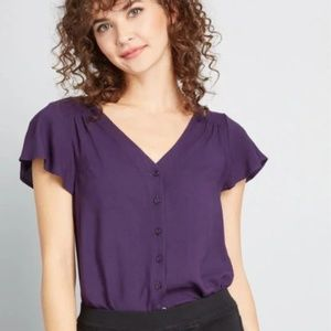 Modcloth Plus Size 1X Purple Button Up Top Blouse